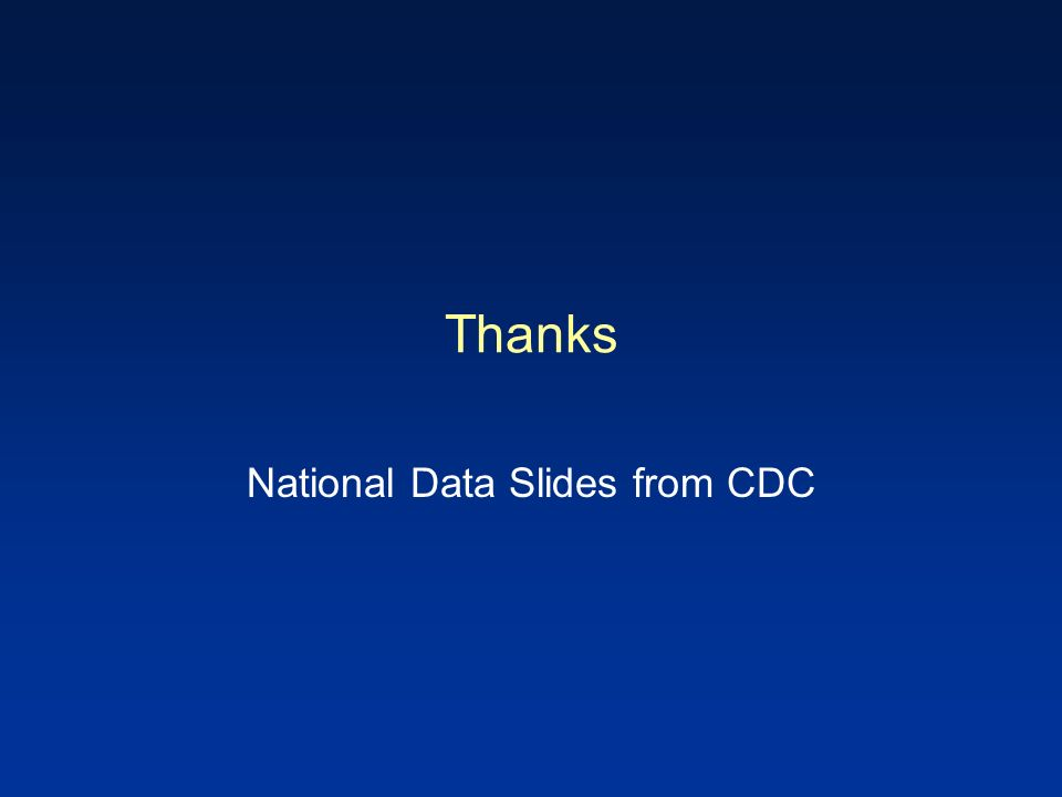 Thanks National Data Slides from CDC