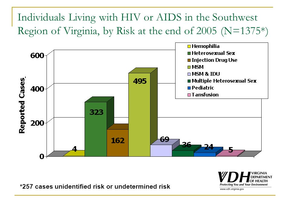 Individuals Living with HIV or AIDS in the Southwest Region of Virginia, by Risk at the end of 2005 (N=1375*) *257 cases unidentified risk or undetermined risk