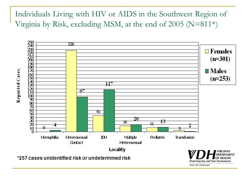 Individuals Living with HIV or AIDS in the Southwest Region of Virginia by Risk, excluding MSM, at the end of 2005 (N=811*) *257 cases unidentified ri