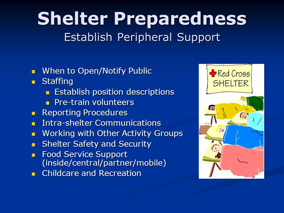Shelter Preparedness Establish Peripheral Support When to Open/Notify Public When to Open/Notify Public Staffing Staffing Establish position descriptions Establish position descriptions Pre-train volunteers Pre-train volunteers Reporting Procedures Reporting Procedures Intra-shelter Communications Intra-shelter Communications Working with Other Activity Groups Working with Other Activity Groups Shelter Safety and Security Shelter Safety and Security Food Service Support (inside/central/partner/mobile) Food Service Support (inside/central/partner/mobile) Childcare and Recreation Childcare and Recreation
