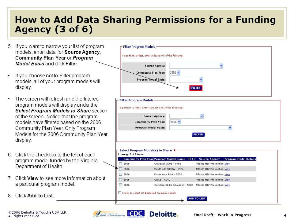 ©2006 Deloitte & Touche USA LLP. All rights reserved. Final Draft – Work-in-Progress 4 How to Add Data Sharing Permissions for a Funding Agency (3 of