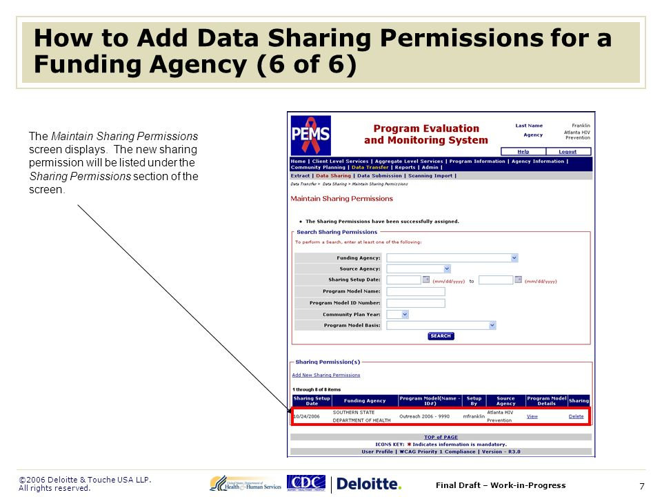 ©2006 Deloitte & Touche USA LLP. All rights reserved. Final Draft – Work-in-Progress 7 How to Add Data Sharing Permissions for a Funding Agency (6 of