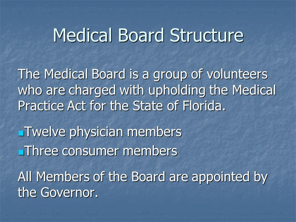 Medical Board Structure The Medical Board is a group of volunteers who are charged with upholding the Medical Practice Act for the State of Florida. T