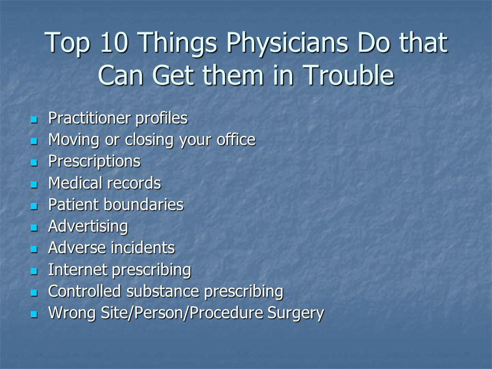 Top 10 Things Physicians Do that Can Get them in Trouble Practitioner profiles Practitioner profiles Moving or closing your office Moving or closing y
