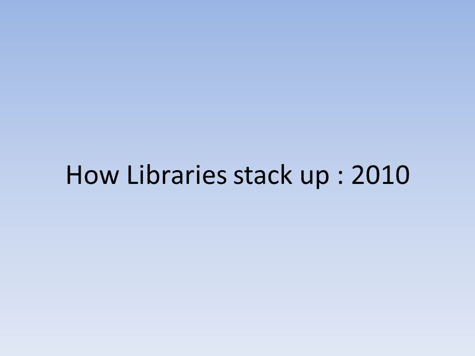 How Libraries stack up : 2010