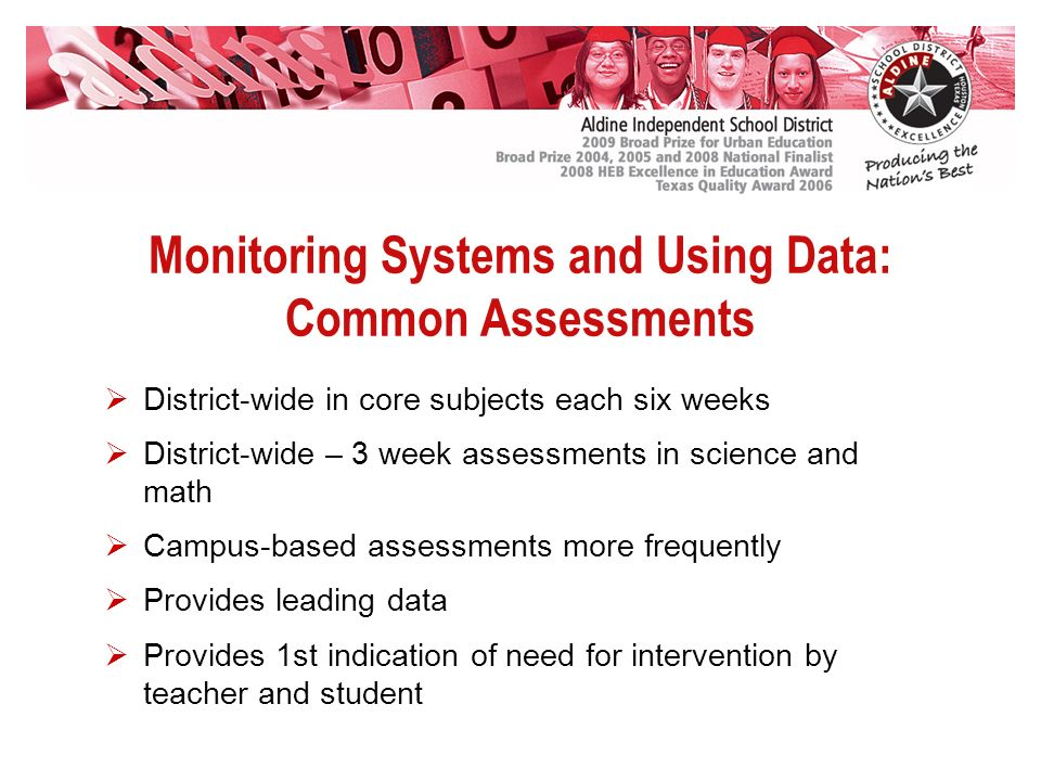 Monitoring Systems and Using Data: Common Assessments District-wide in core subjects each six weeks District-wide – 3 week assessments in science and math Campus-based assessments more frequently Provides leading data Provides 1st indication of need for intervention by teacher and student