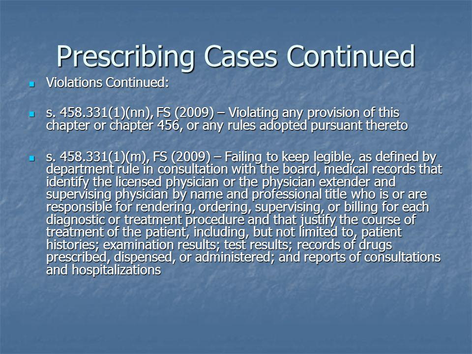 Prescribing Cases Continued Violations Continued: Violations Continued: s.