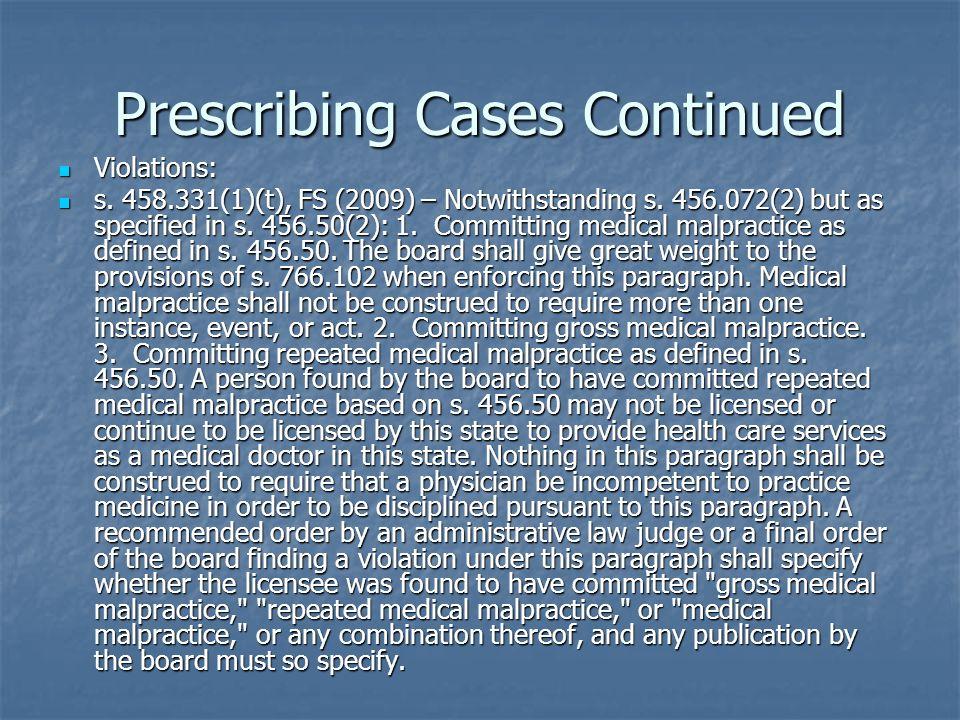 Prescribing Cases Continued Violations: Violations: s.