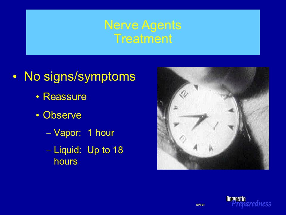 DPT 8.1 Nerve Agents Treatment No signs/symptoms Reassure Observe – Vapor: 1 hour – Liquid: Up to 18 hours
