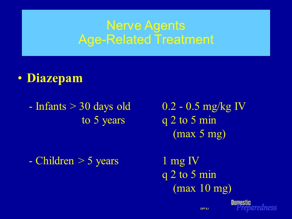 DPT 8.1 Nerve Agents Age-Related Treatment Diazepam - Infants > 30 days old0.2 - 0.5 mg/kg IV to 5 yearsq 2 to 5 min (max 5 mg) - Children > 5 years 1