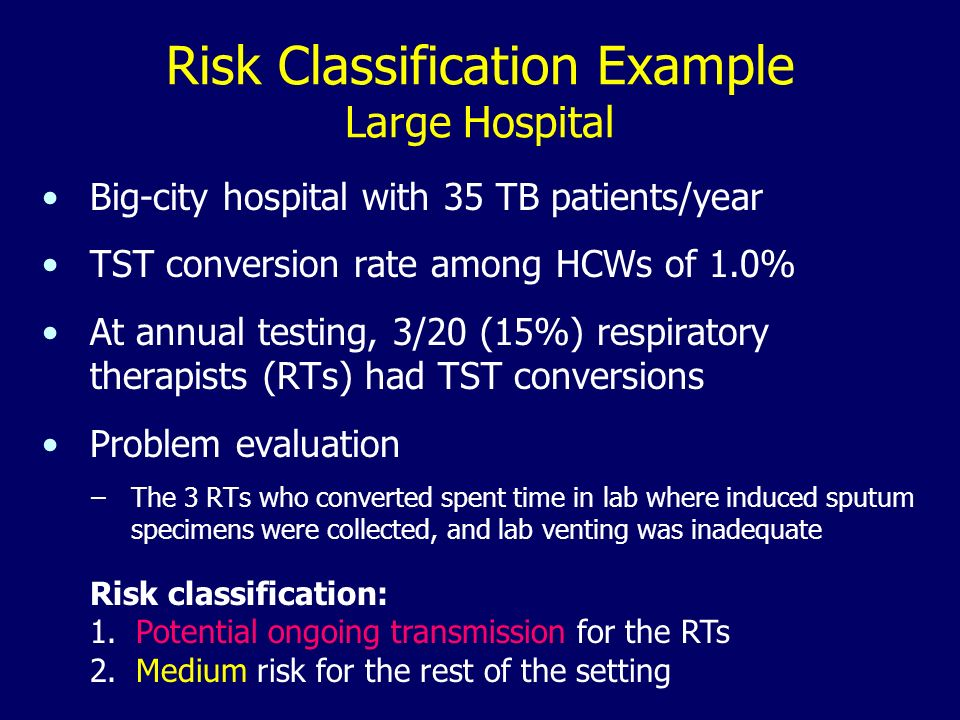 Risk Classification Example Large Hospital Big-city hospital with 35 TB patients/year TST conversion rate among HCWs of 1.0% At annual testing, 3/20 (