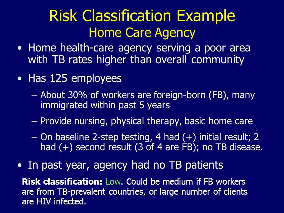 Risk Classification Example Home Care Agency Home health-care agency serving a poor area with TB rates higher than overall community Has 125 employees