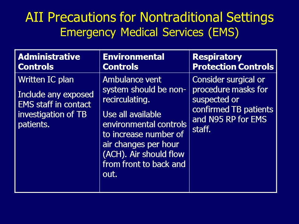 AII Precautions for Nontraditional Settings Emergency Medical Services (EMS) Administrative Controls Environmental Controls Respiratory Protection Controls Written IC plan Include any exposed EMS staff in contact investigation of TB patients.