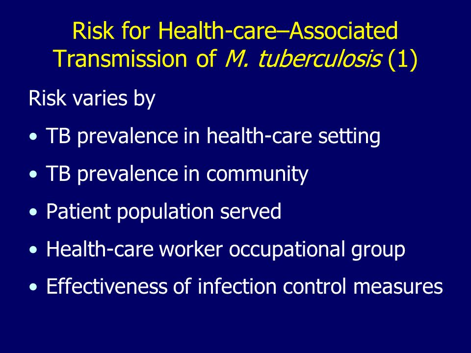 Risk for Health-care–Associated Transmission of M.