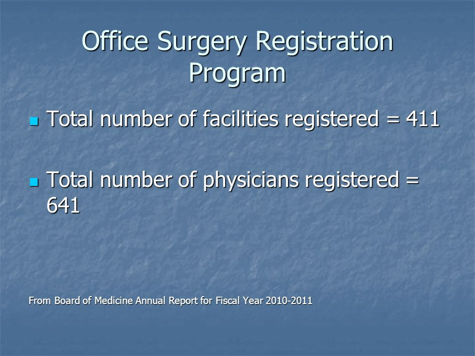 Office Surgery Registration Program Total number of facilities registered = 411 Total number of facilities registered = 411 Total number of physicians