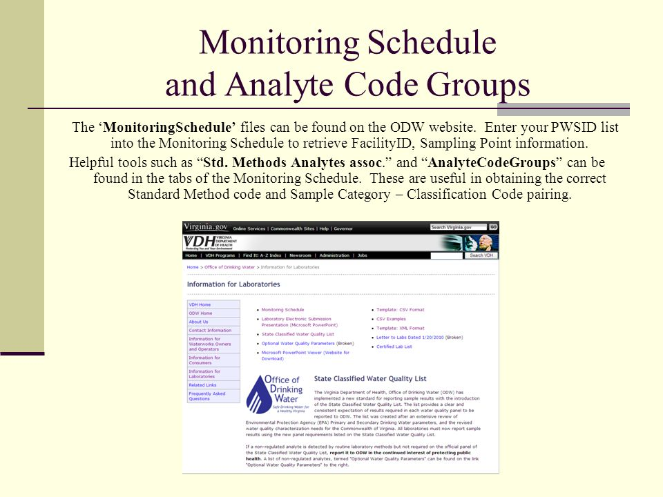 Monitoring Schedule and Analyte Code Groups The MonitoringSchedule files can be found on the ODW website.