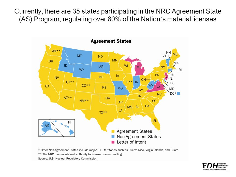 Currently, there are 35 states participating in the NRC Agreement State (AS) Program, regulating over 80% of the Nation s material licenses