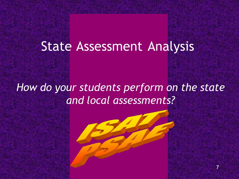 7 State Assessment Analysis How do your students perform on the state and local assessments