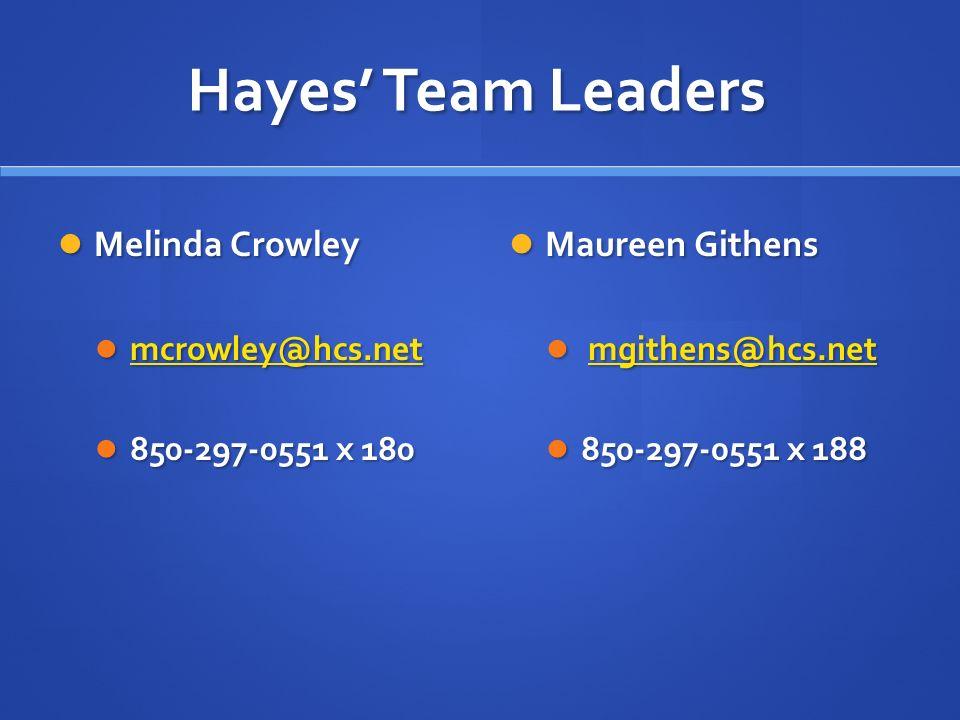 Hayes Team Leaders Melinda Crowley Melinda Crowley mcrowley@hcs.net mcrowley@hcs.net mcrowley@hcs.net 850-297-0551 x 180 850-297-0551 x 180 Maureen Githens mgithens@hcs.net 850-297-0551 x 188