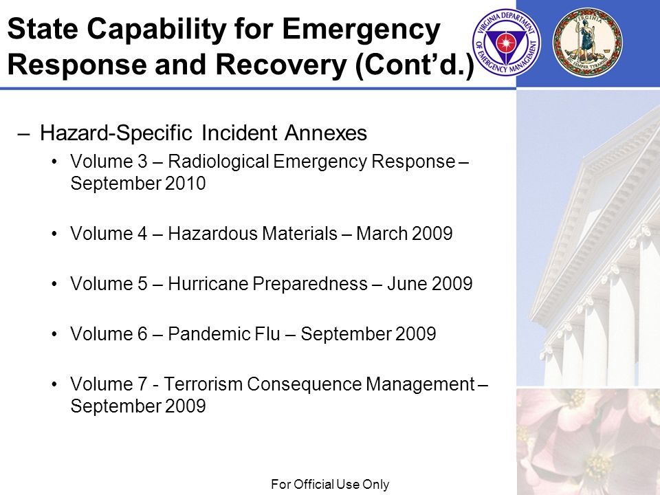 01/29/09For Official Use Only State Capability for Emergency Response and Recovery (Contd.) –Hazard-Specific Incident Annexes Volume 3 – Radiological Emergency Response – September 2010 Volume 4 – Hazardous Materials – March 2009 Volume 5 – Hurricane Preparedness – June 2009 Volume 6 – Pandemic Flu – September 2009 Volume 7 - Terrorism Consequence Management – September 2009