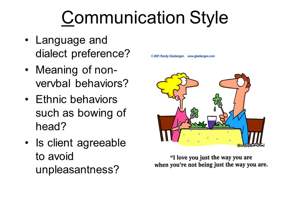 Communication Style Language and dialect preference? Meaning of non- vervbal behaviors? Ethnic behaviors such as bowing of head? Is client agreeable t