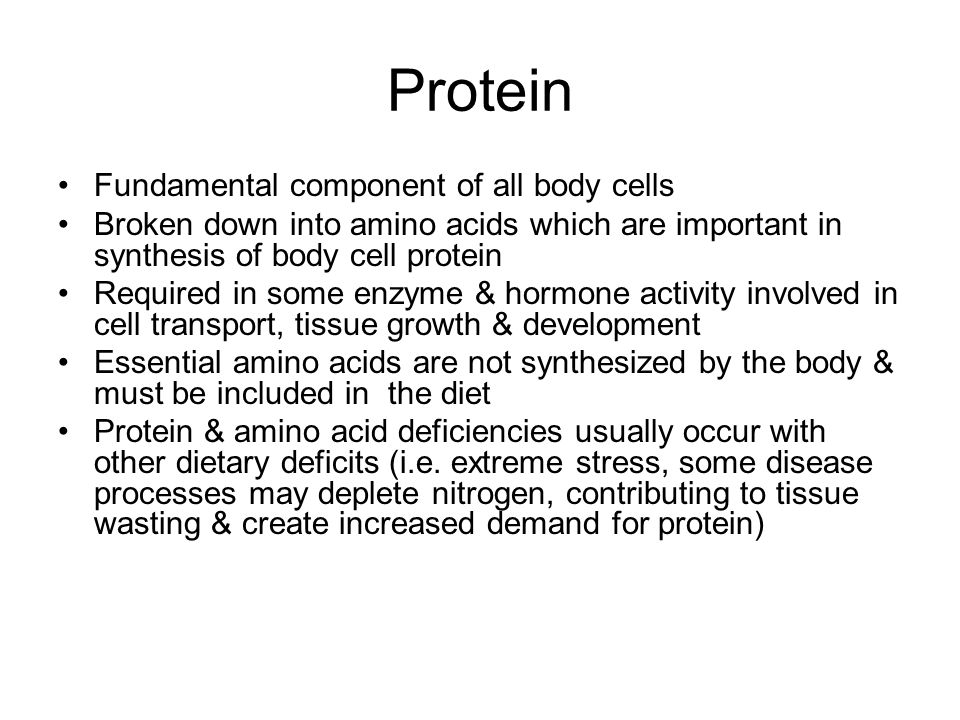 Protein Fundamental component of all body cells Broken down into amino acids which are important in synthesis of body cell protein Required in some en