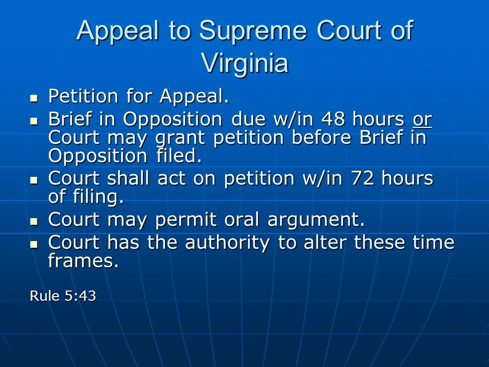 Appeal to Supreme Court of Virginia Petition for Appeal.