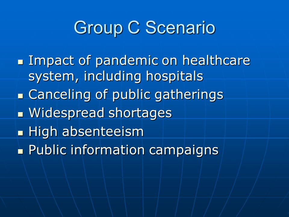 Group C Scenario Impact of pandemic on healthcare system, including hospitals Impact of pandemic on healthcare system, including hospitals Canceling of public gatherings Canceling of public gatherings Widespread shortages Widespread shortages High absenteeism High absenteeism Public information campaigns Public information campaigns