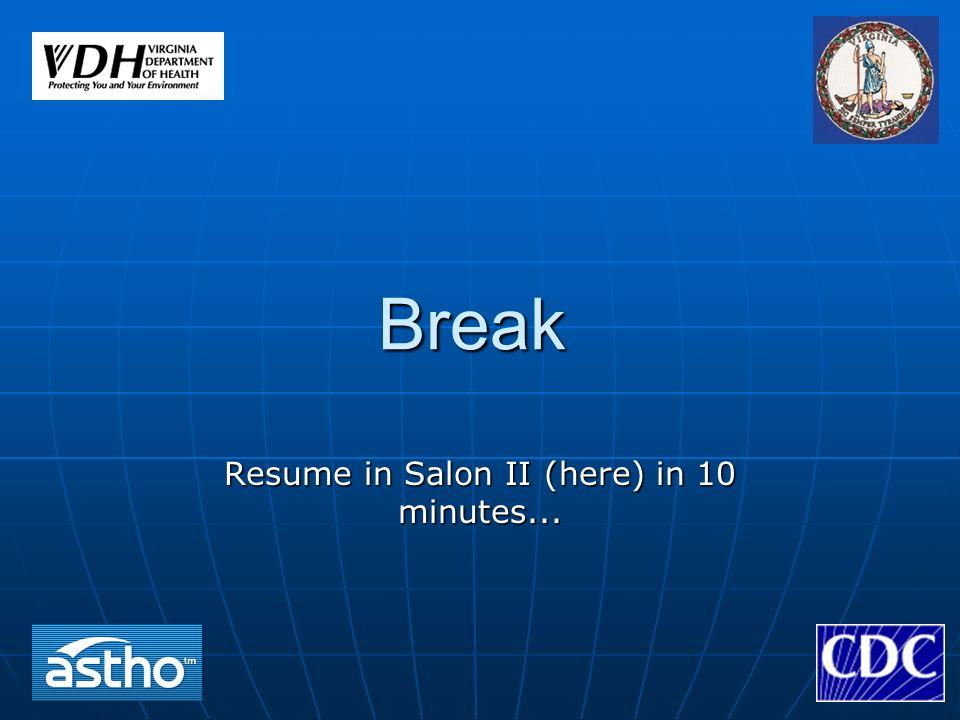 Break Resume in Salon II (here) in 10 minutes...