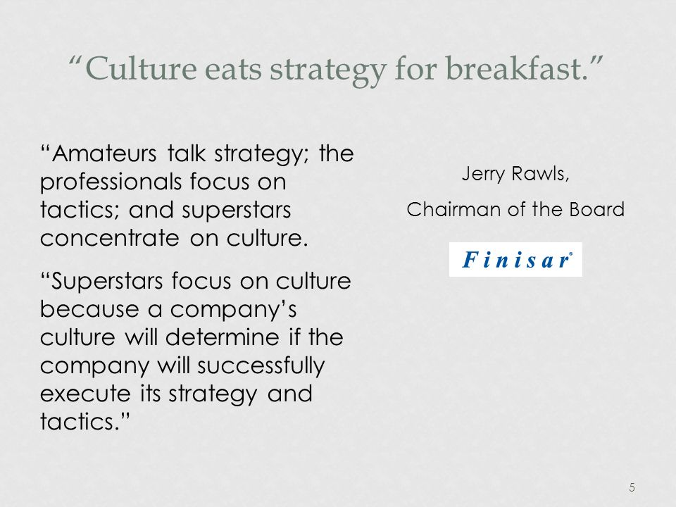 5 Culture eats strategy for breakfast.