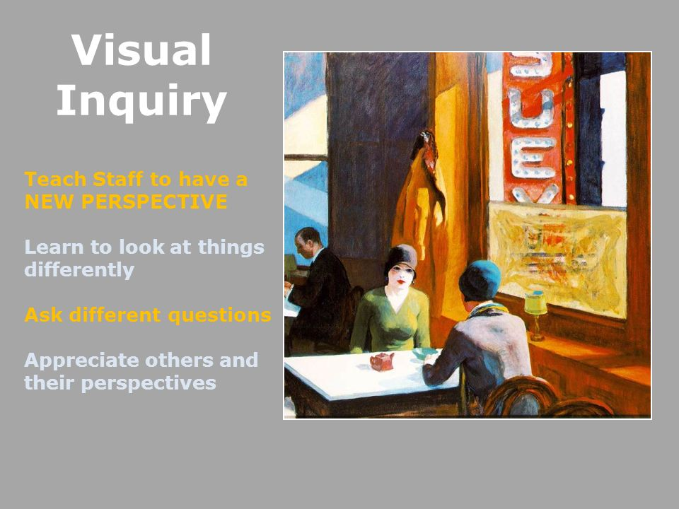 Visual Inquiry Teach Staff to have a NEW PERSPECTIVE Learn to look at things differently Ask different questions Appreciate others and their perspectives