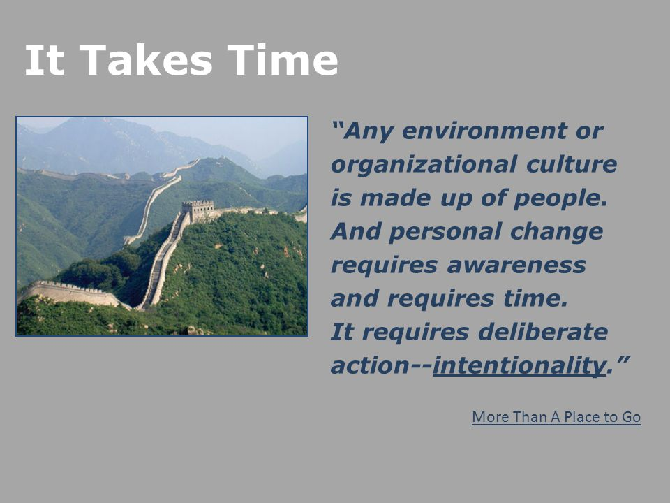 It Takes Time Any environment or organizational culture is made up of people.