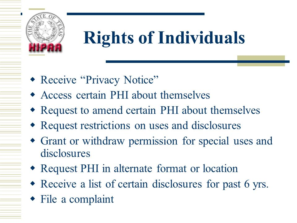 Rights of Individuals Receive Privacy Notice Access certain PHI about themselves Request to amend certain PHI about themselves Request restrictions on uses and disclosures Grant or withdraw permission for special uses and disclosures Request PHI in alternate format or location Receive a list of certain disclosures for past 6 yrs.