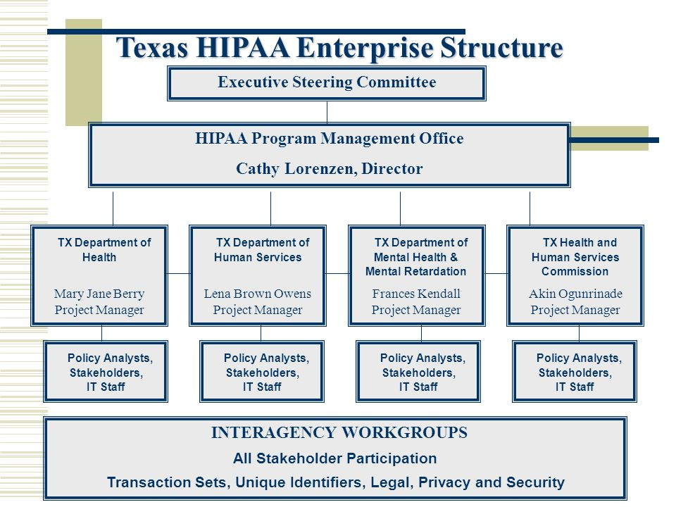 Executive Steering Committee TX Department of Health Mary Jane Berry Project Manager HIPAA Program Management Office Cathy Lorenzen, Director Policy Analysts, Stakeholders, IT Staff Texas HIPAA Enterprise Structure TX Department of Human Services Lena Brown Owens Project Manager TX Department of Mental Health & Mental Retardation Frances Kendall Project Manager TX Health and Human Services Commission Akin Ogunrinade Project Manager Policy Analysts, Stakeholders, IT Staff INTERAGENCY WORKGROUPS All Stakeholder Participation Transaction Sets, Unique Identifiers, Legal, Privacy and Security