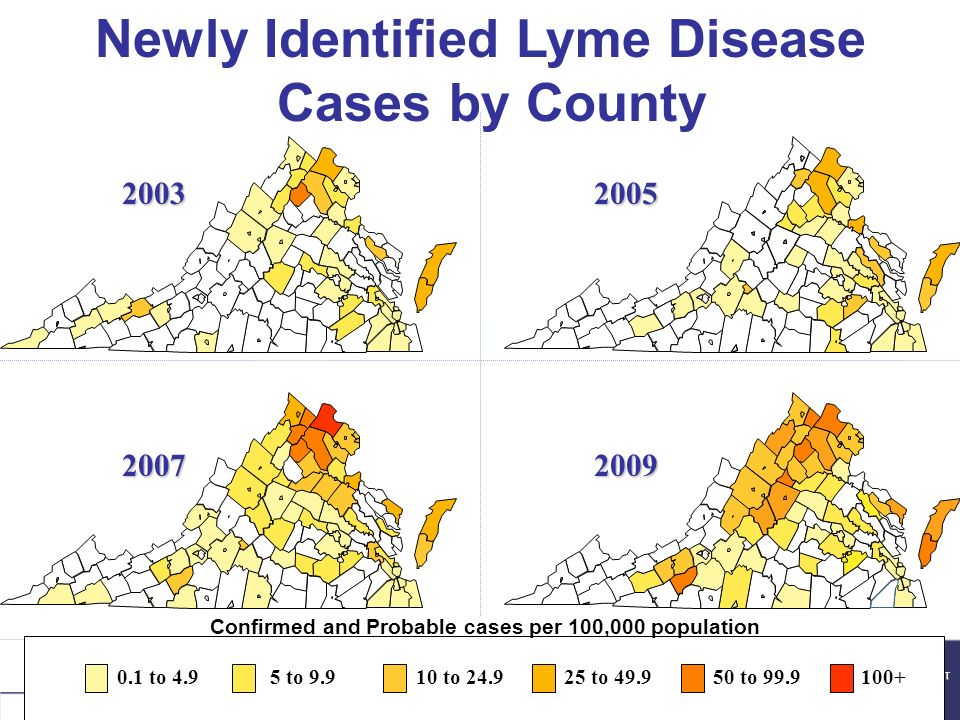 20032005 20072009 Newly Identified Lyme Disease Cases by County 0.1 to 4.95 to 9.910 to 24.925 to 49.950 to 99.9100+ Confirmed and Probable cases per