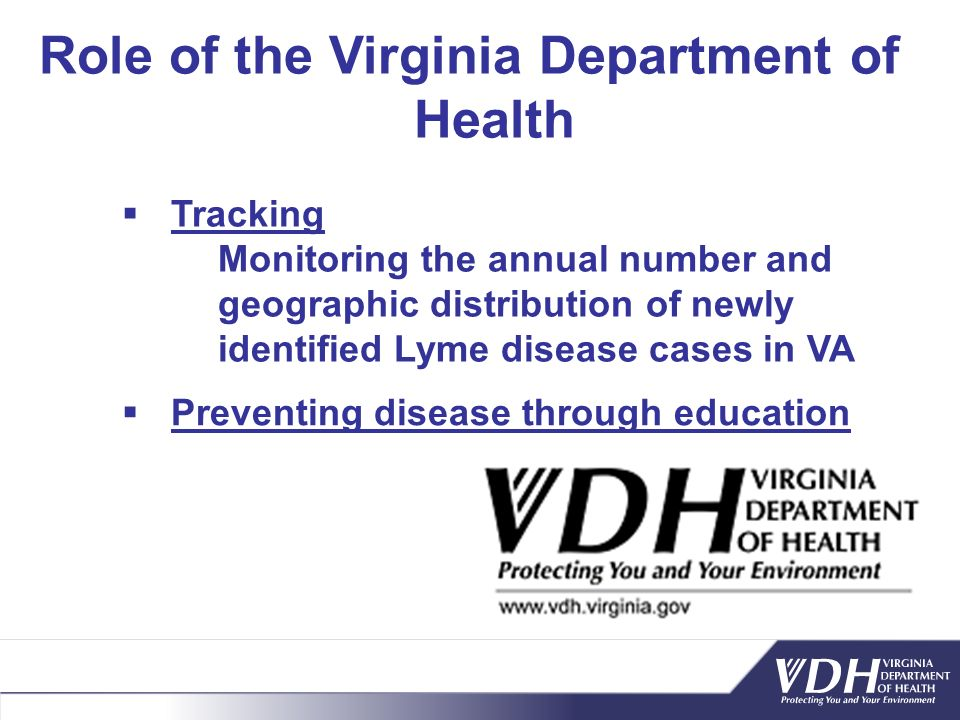 Role of the Virginia Department of Health Preventing disease through education Tracking Monitoring the annual number and geographic distribution of ne