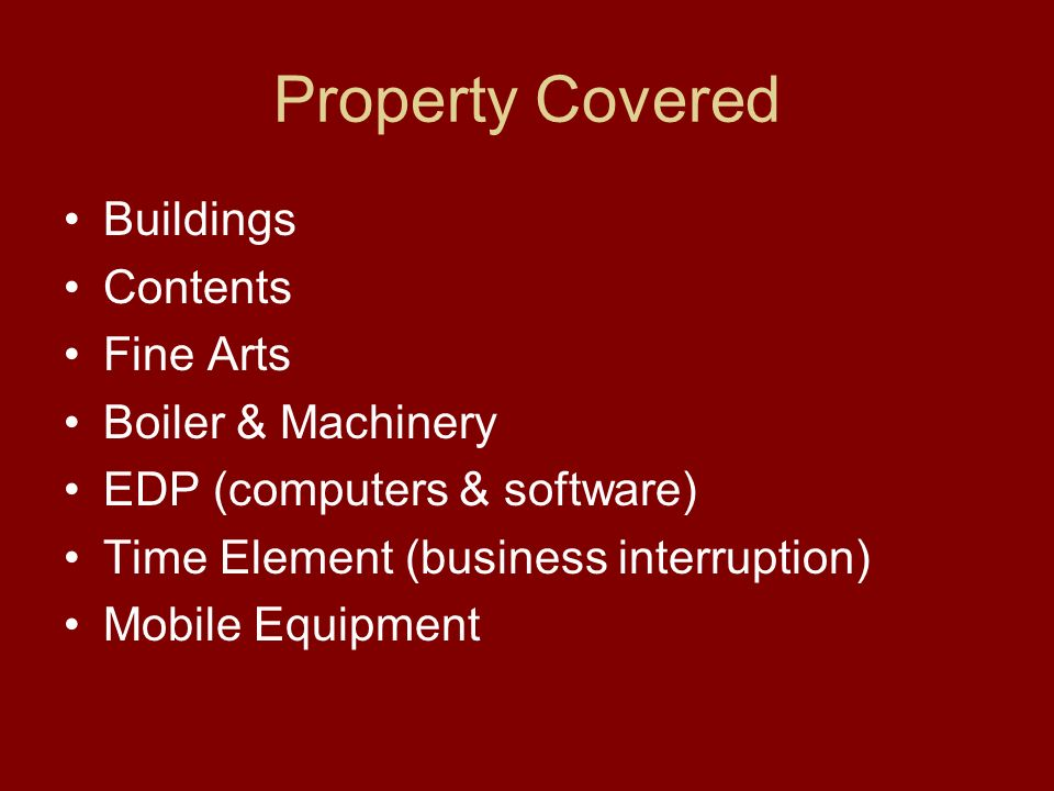 Property Program Details continued Parties Involved: