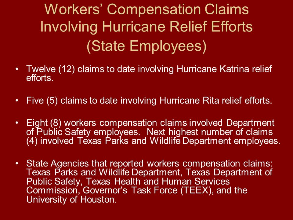 Relief Responses from State Agencies continued Over 550 state employees provided assistance following Hurricanes Katrina and Rita –Emergency rescue –Law enforcement –Evacuation assistance –Financial information –Unemployment assistance –Medical services –Provided shelters for evacuees –Emergency equipment and supplies –Chaplain services –Environmental assistance –Delivering emergency supplies –Job counseling –Animal health assistance