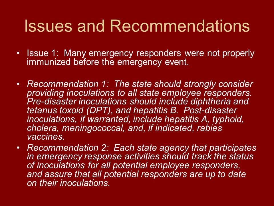 Workers Compensation Claims (Volunteers) Five (5) claims All at evacuation centers in Texas Two (2) claims due to possible contaminated air Three (3) claims due to evacuation center activities Resulting injuries: –Upper respiratory infections (2 claims) –Injured finger (1 claim) –Shoulder strain (1 claim) –Back strain (1 claim)