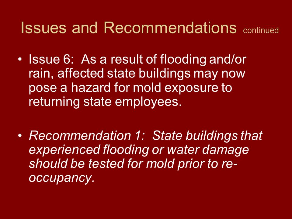 Issues and Recommendations continued Issue 5: There was not a process in place for decontamination of state equipment after its use.