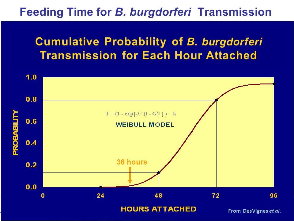 Feeding Time for B. burgdorferi Transmission T = (1 exp[- λ γ (t G) γ ] ) k From DesVignes et al. Cumulative Probability of B. burgdorferi Transmissio