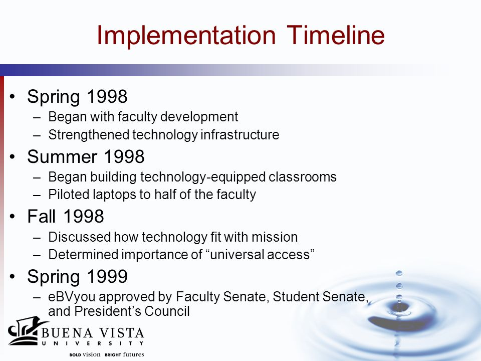 Implementation Timeline Summer 1999 –Teaching and Learning with Technology Center (TLTC) established –ALL faculty given laptops Fall 1999 –Final approval by Board of Directors –Formed key partnerships with technology vendors (laptops, wireless, etc.) Summer 2000 –Built wireless network Fall 2000 –Distributed laptops to 1,250 students and 80 faculty