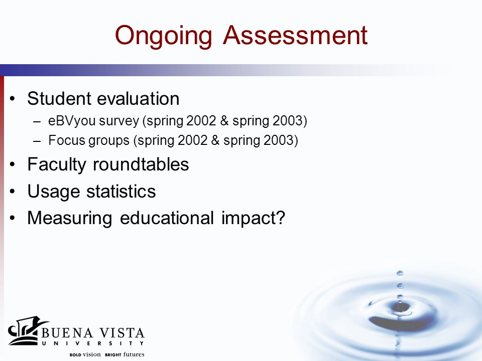 Ongoing Assessment Student evaluation –eBVyou survey (spring 2002 & spring 2003) –Focus groups (spring 2002 & spring 2003) Faculty roundtables Usage s