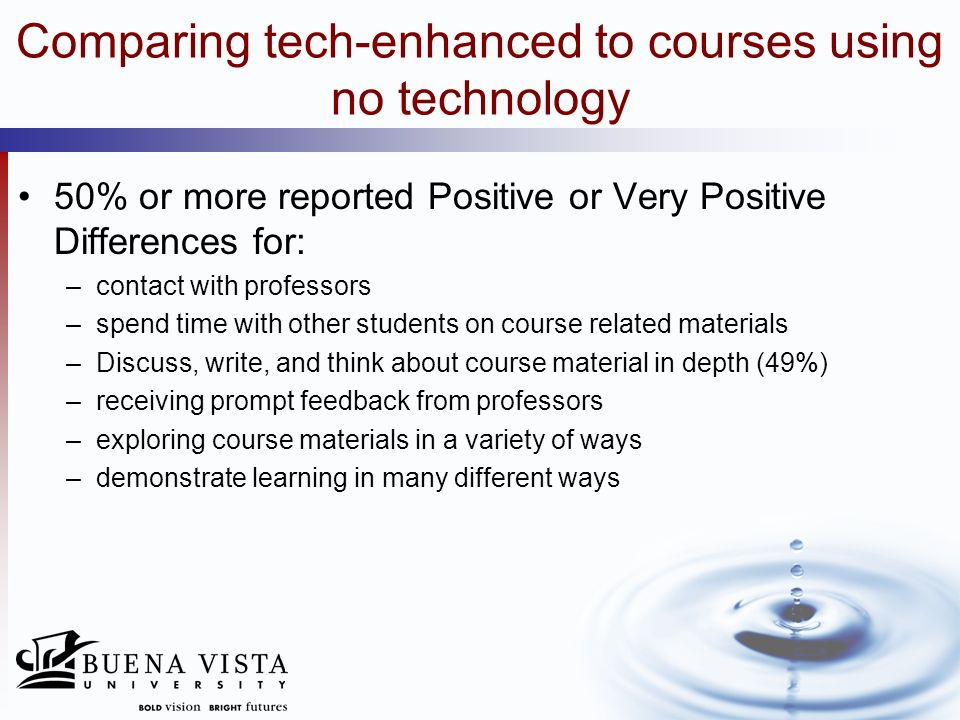 Comparing tech-enhanced to courses using no technology 50% or more reported Positive or Very Positive Differences for: –present work in many different ways –communicate with people outside the University on course content (49%) –learn technology related skills –observe and record my own progress –engage in activities beyond the classroom that enrich course activities –constructively critique others work