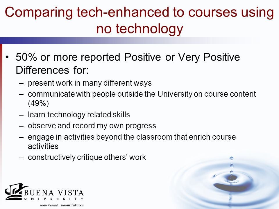 Comparing tech-enhanced to courses using no technology 50% or more reported Positive or Very Positive Differences for: –present work in many different