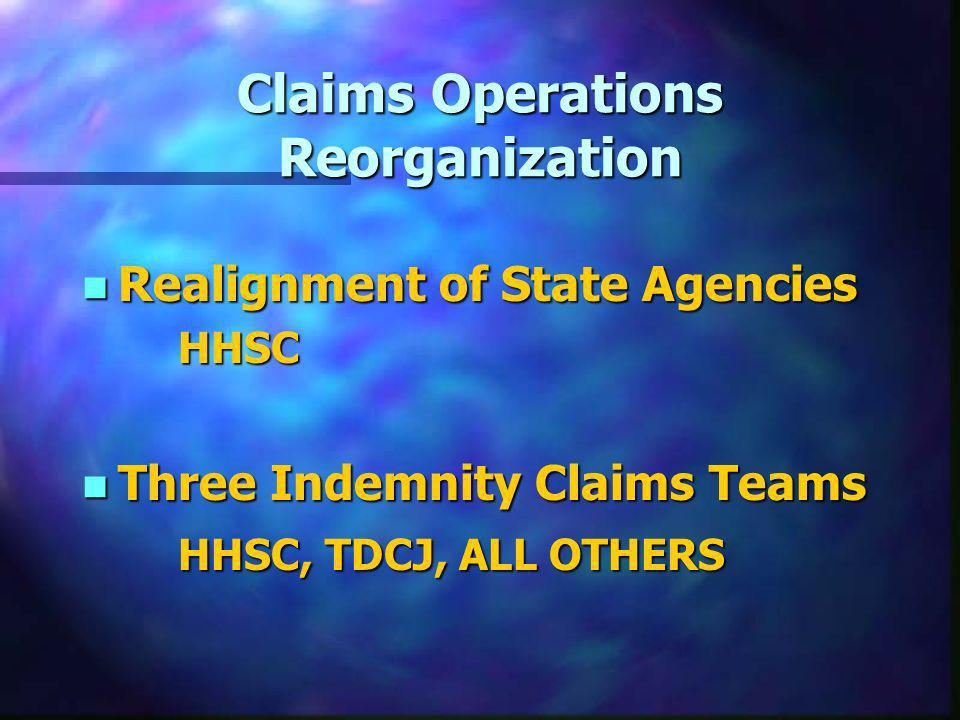 Claims Operations Reorganization n Realignment of State Agencies HHSC n Three Indemnity Claims Teams HHSC, TDCJ, ALL OTHERS
