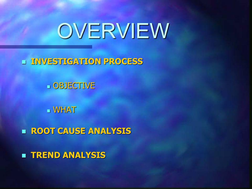 OVERVIEW n INVESTIGATION PROCESS n OBJECTIVE n WHAT n ROOT CAUSE ANALYSIS n TREND ANALYSIS