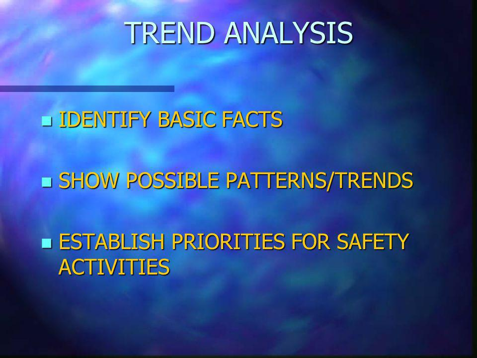 TREND ANALYSIS n IDENTIFY BASIC FACTS n SHOW POSSIBLE PATTERNS/TRENDS n ESTABLISH PRIORITIES FOR SAFETY ACTIVITIES