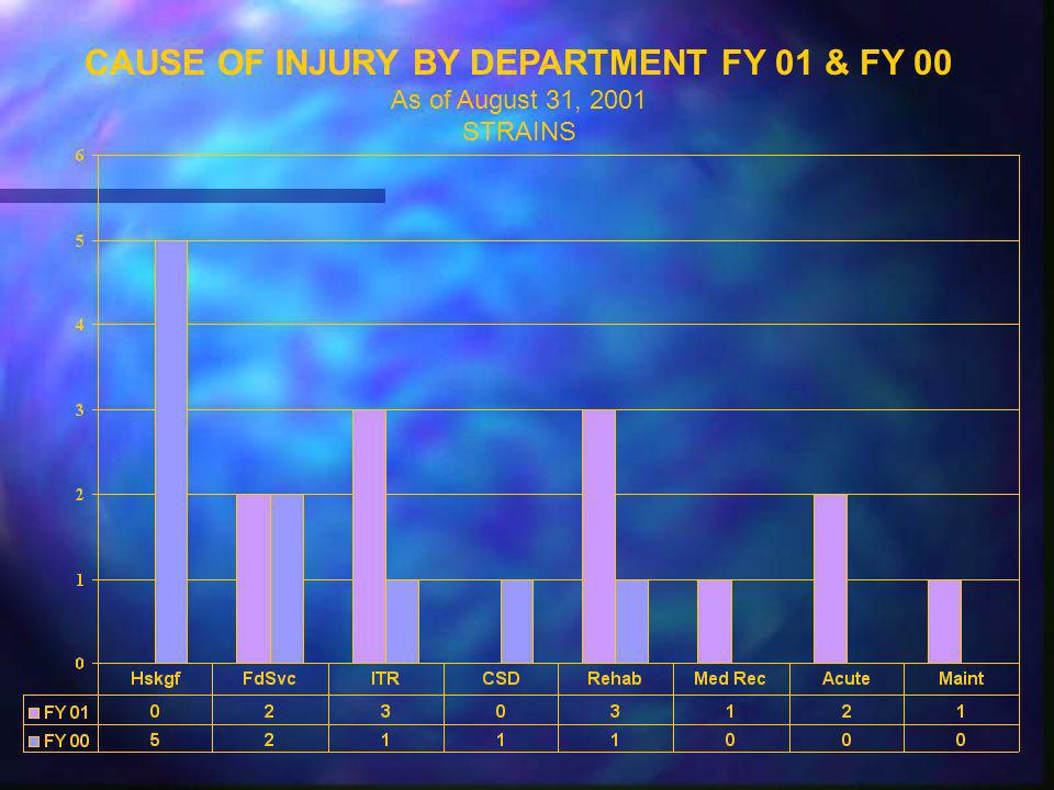 CAUSE OF INJURY BY DEPARTMENT FY 01 & FY 00 As of August 31, 2001 STRAINS