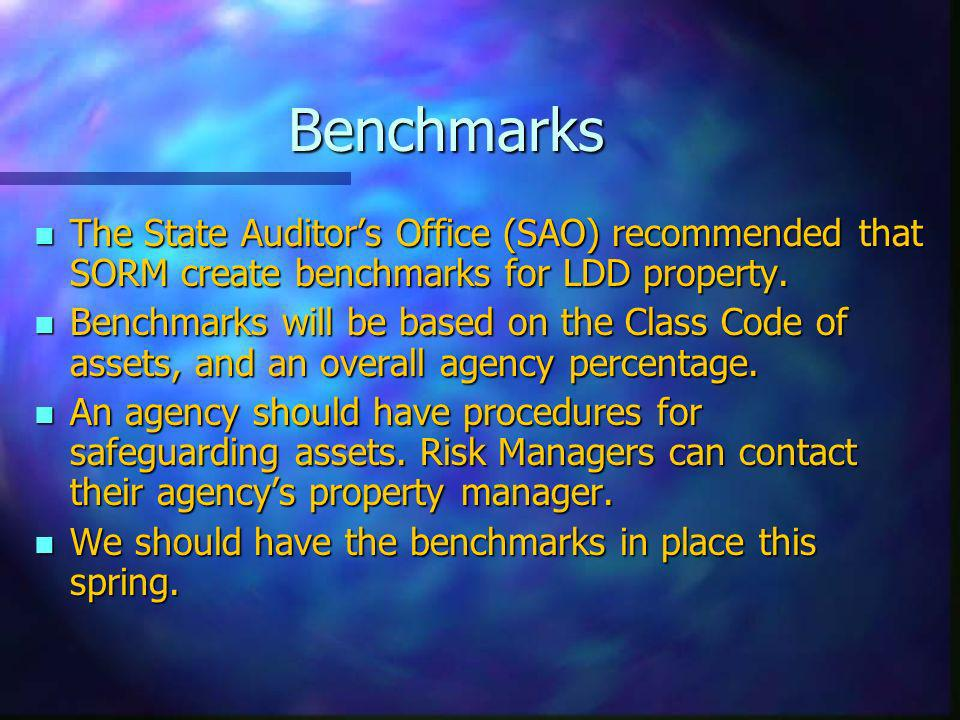 Benchmarks n The State Auditors Office (SAO) recommended that SORM create benchmarks for LDD property.